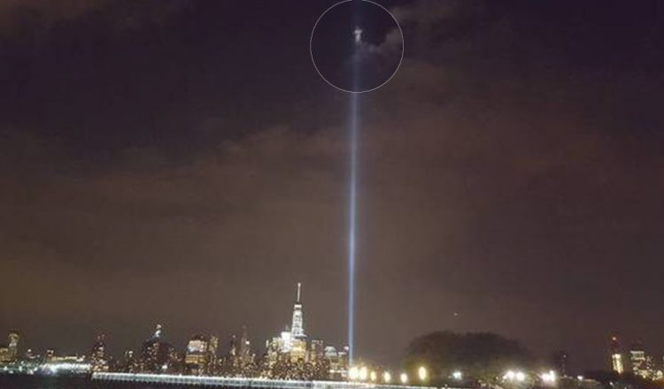 mysterious figure over twin towers 9/11 tribute