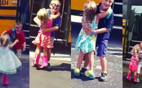 brother sister bus stop hug