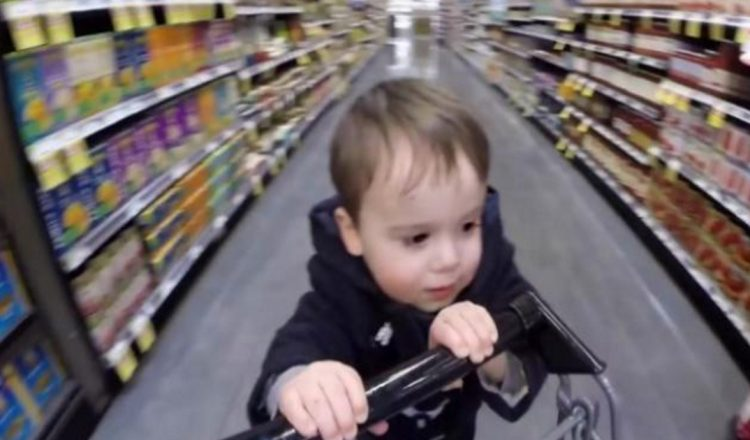 2-year-old grocery shopping