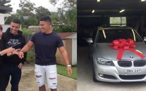 brothers surprise mom with bmw