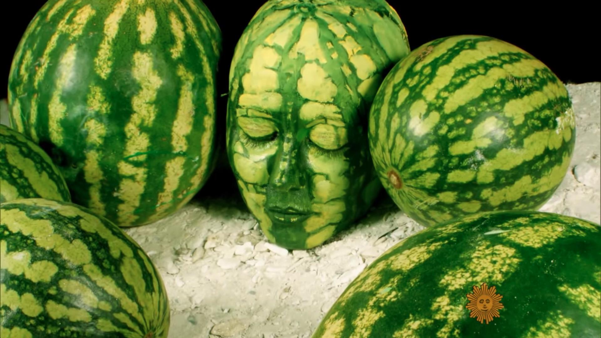 artist Johannes Stötter body paint Stotter watermelon