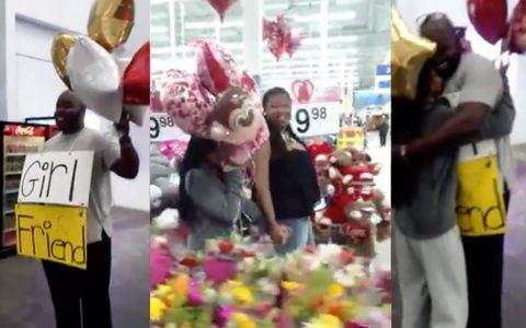 girlfriend in walmart proposal