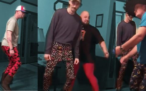 men dancing in lularoe leggings - unique fashion show