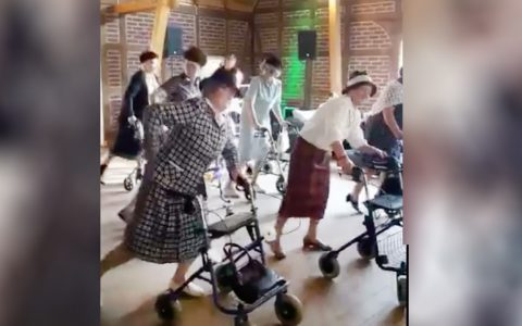 dancing grannies with walkers