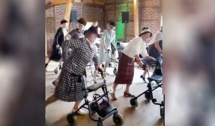 dancing grannies with walkers
