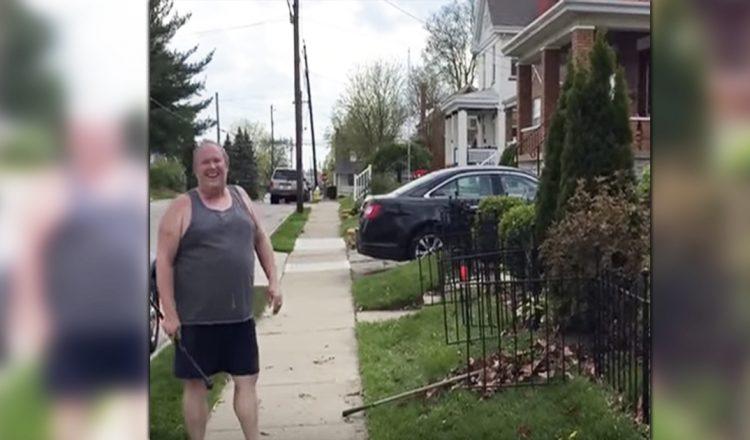 Man stops gardening _ baton twirls _ fence post _ everything inspirational