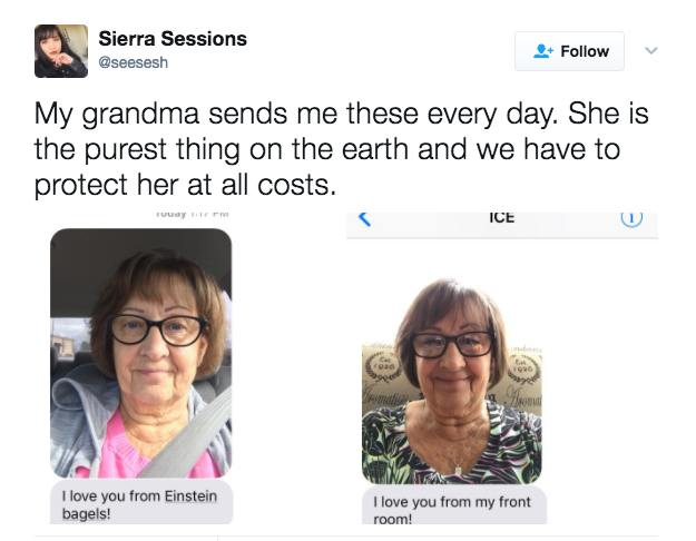 Adorable Grandma Sends Selfies _ bagels _everything inspirational