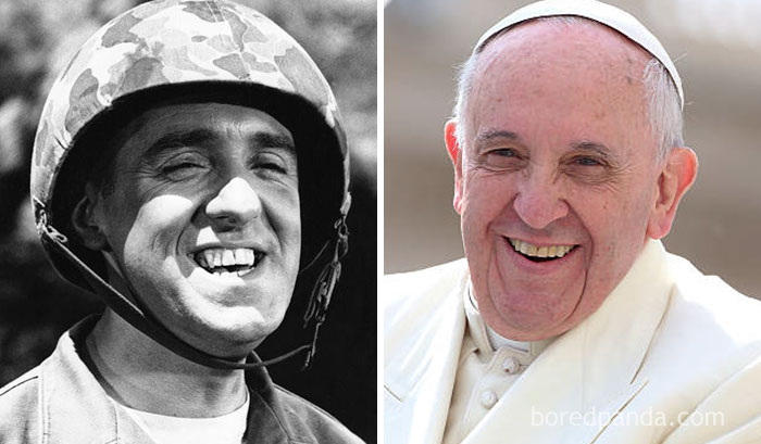 14 Photos of People Who Look Exactly Like Famous Celebrities _ Jim Nabors _ Pope _ everything inspirational