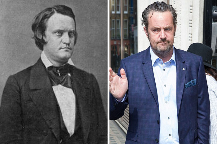 14 Photos of People Who Look Exactly Like Famous Celebrities _ John Breckinridge _ Matthew Perry _ everything inspirational