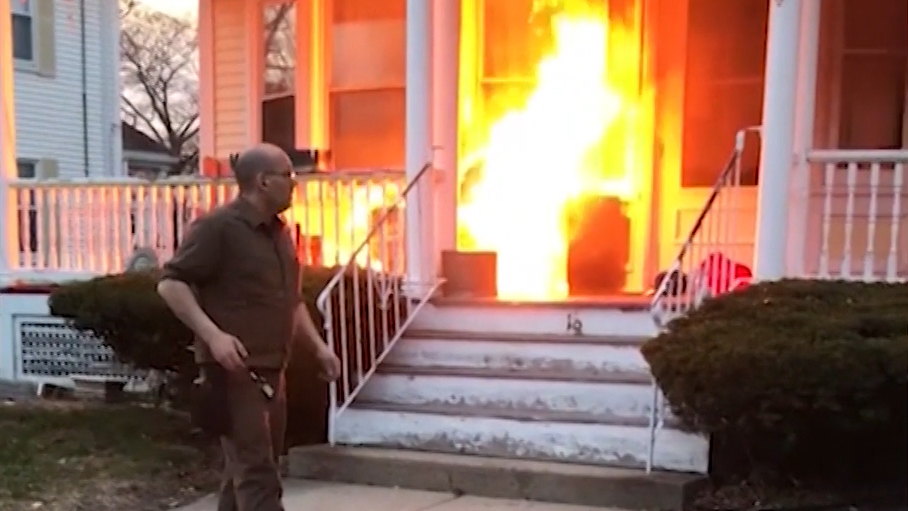 UPS Driver Puts Out Raging Fire On His Route _ everything inspirational