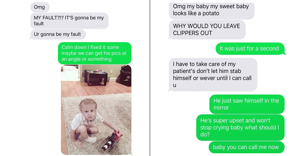 Husband Texts Wife to Reschedule Family Portraits Because of a Mishap_ shaved head _ everything inspirational