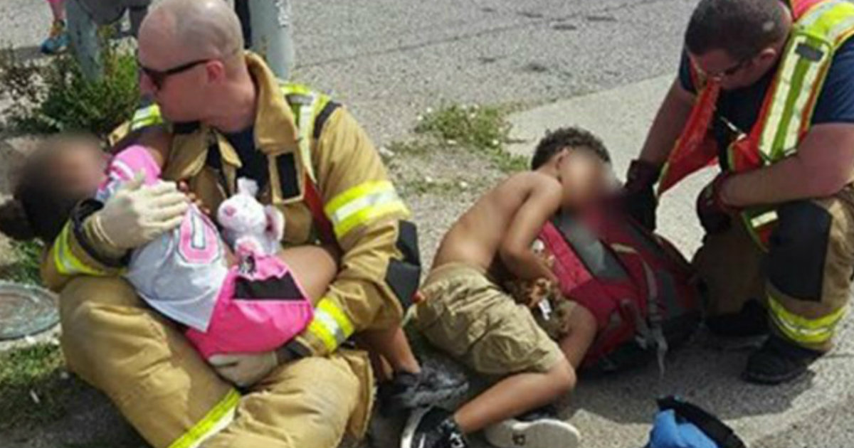 compassionate Firefighters Comfort Two Children After a Car Crash