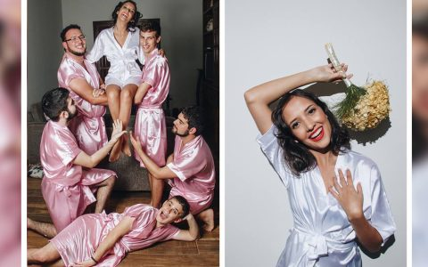 Bride Didn't Have Girlfriends, So She Invited Guys for Her Bridal Photos _ everything inspirational