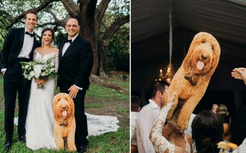 Leo Dog Couldn't Make Wedding Dad brought next best thing _ Hillary Bowles _ Everything Inspirational