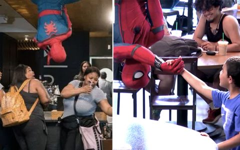Spider-man Drops In On Coffee Shop And Surprises The Customers _ everything inspirational