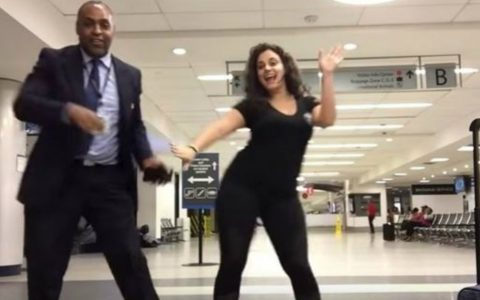 Woman Stranded At Airport Dances With Airport Staff And Travelers_ everything inspirational